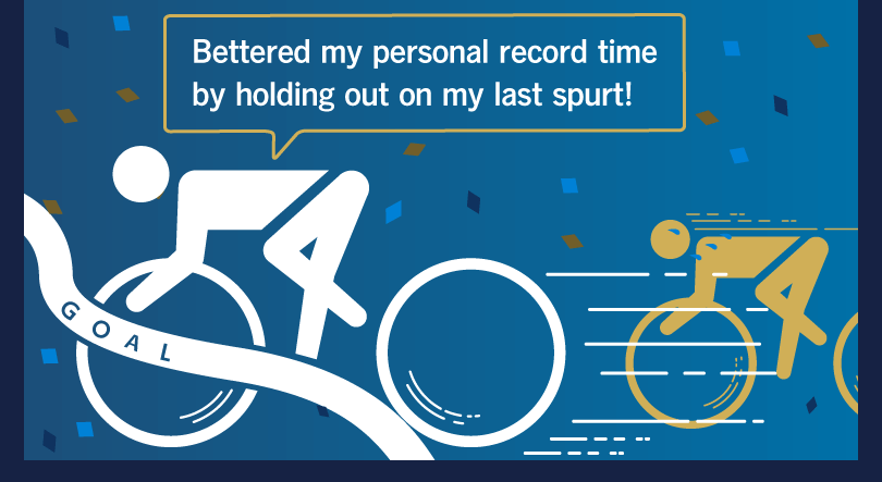 Bettered my personal record time by holding out on my last spurt!